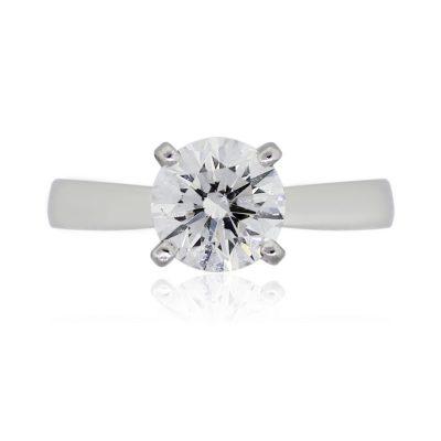 Platinum 1.12ct GIA Certified Round Brilliant Solitaire Diamond Engagement Ring
