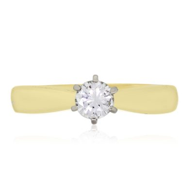 14k Yellow Gold 0.38ct Round Brilliant Diamond Solitaire Engagement Ring