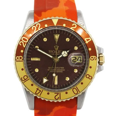 Rolex 1675 GMT Root Beer Orange Camo Rubber Strap Stainless Steel Vintage Watch