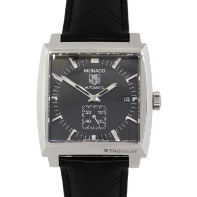 Tag Heuer WW2110-0 Monaco Black Dial on Black Leather Watch