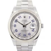 Rolex 116334 Datejust 41mm Blue Arabic Silver Dial Stainless Steel Watch