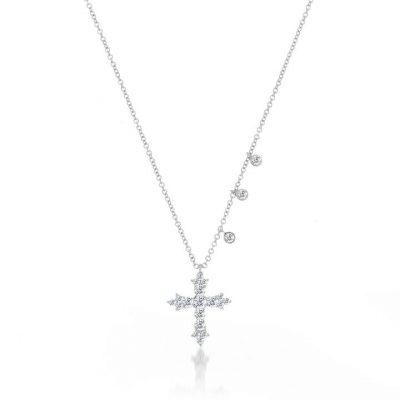 Meira T 14k White Gold 0.41ctw Diamond Cross Necklace