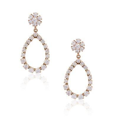 14k Rose Gold 5.88ctw Diamond Pear Shape Drop Earrings