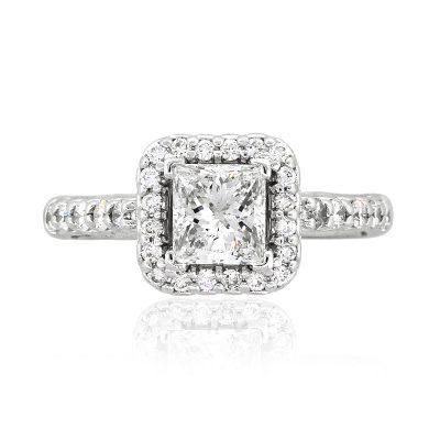 14k White Gold 1.02ct EGL Radiant Cut Diamond Engagement Ring