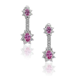 18k White Gold 1.95ct Oval Pink Sapphire With Diamonds Drop Earrings