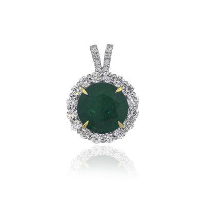 18k White Gold 10.67ct Round Emerald Diamond Halo Pendant