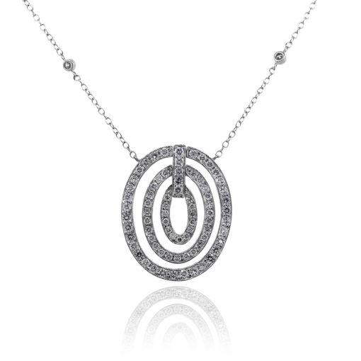 18k White Gold 3.11ctw Round Diamond Triple Circle Pendant Necklace