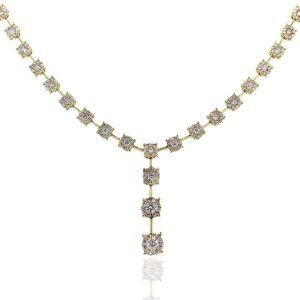 18k Yellow Gold 3.07ctw Round Brilliant Diamond Drop Necklace
