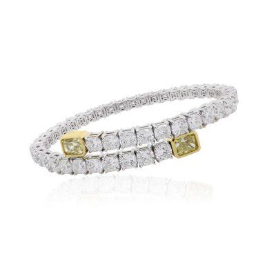 18k White Gold 16.51ctw White and Fancy Yellow Diamond Bangle
