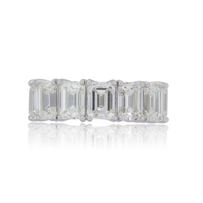 Platinum 14.19ctw GIA certified Emerald Cut Diamond Eternity Band
