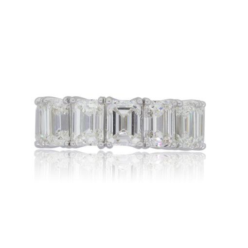 Platinum 14.19ctw GIA certified Emerald Cut Diamond Eternity Band