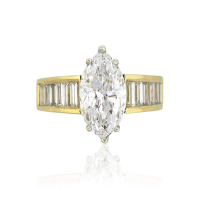 18k Yellow Gold 3.39ct Marquise Cut Diamond Ring With Baguette Diamonds