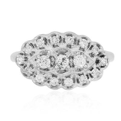 Platinum vintage style ring