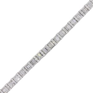 Platinum 10.89ctw of Baguette Shape and Round Brilliant Diamond Wide Bracelet