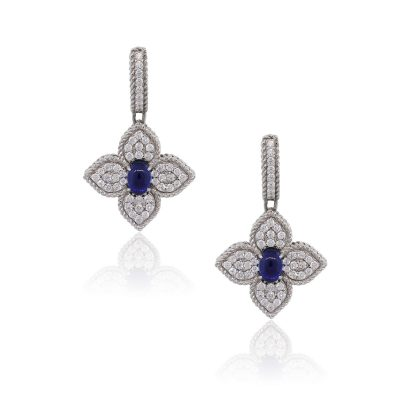 Roberto Coin 1.04ctw Diamond and Sapphire Dangle Princess Flower Earrings