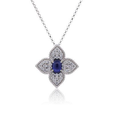 Roberto Coin 0.44ctw Diamond and Sapphire Princess Flower Pendant Necklace