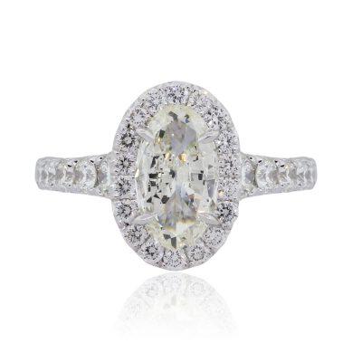 Henri Daussi 18k White Gold 3.50ctw Diamond GIA Certified Engagement Ring
