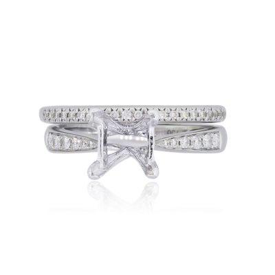 18k White Gold Diamond Engagement Mounting and Band Ring Set