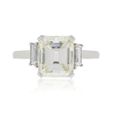 Platinum 5.02ct Emerald Cut Diamond Engagement Ring