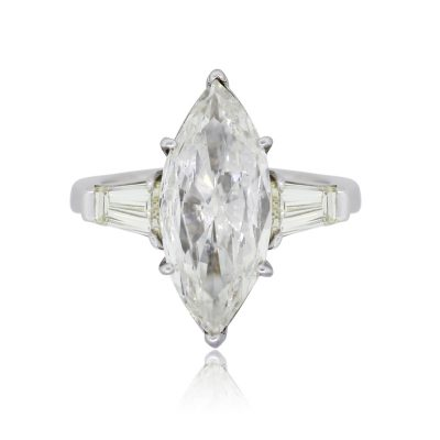 Platinum 4.61ct Marquise Shape Diamond Engagement Ring