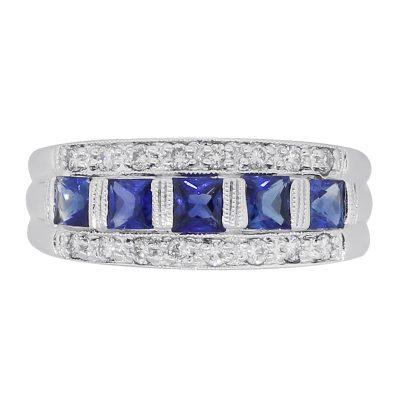 Diamond and sapphire gemstone ring