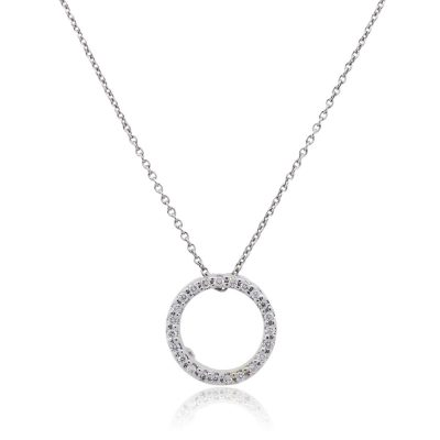 Roberto Coin 18k White Gold Diamond Circle Pendant and Necklace