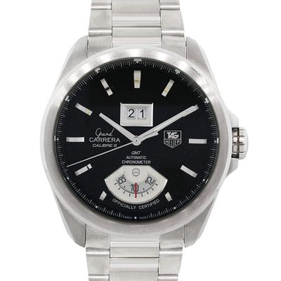 Tag Heuer WAV5111 Grand Carrera GMT Black Dial Stainless Steel Watch