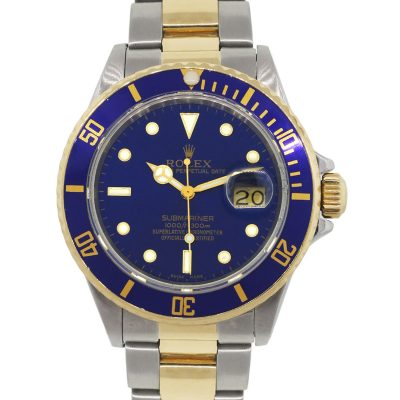 Rolex 16803 Submariner Two Tone Blue Dial Watch