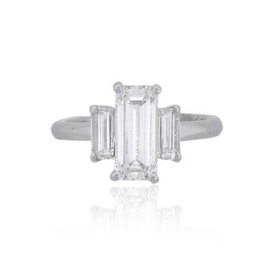 Platimum 1.44ct GIA Emerald Cut Diamond Three Stone Engagement Ring