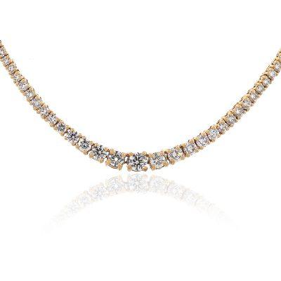 14k Rose Gold 3.30ctw Round Diamond Gradual Tennis Necklace