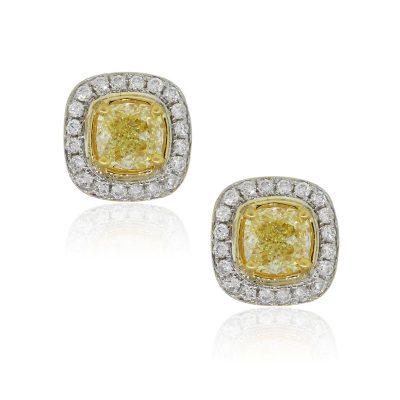 14k Two Tone Gold 1.20ctw Fancy Yellow Diamond Earrings