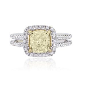 14k White Gold 1.65ct Fancy Yellow Cushion Cut Diamond With 0.48ctw Diamond Halo Engagement Ring
