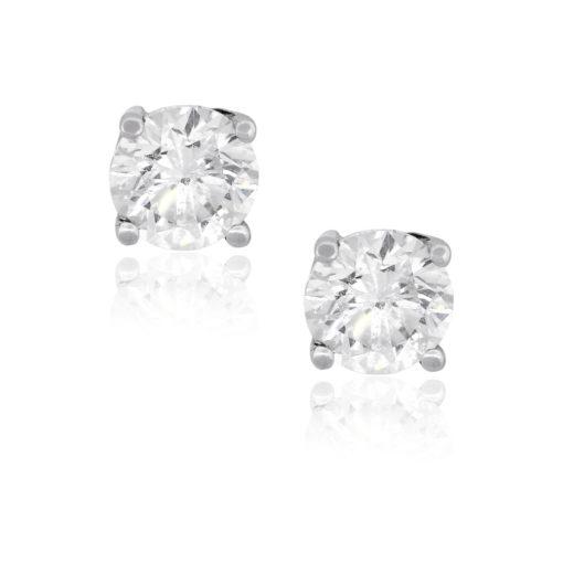 14k White Gold 0.80ctw Round Brilliant Diamond Earring Studs