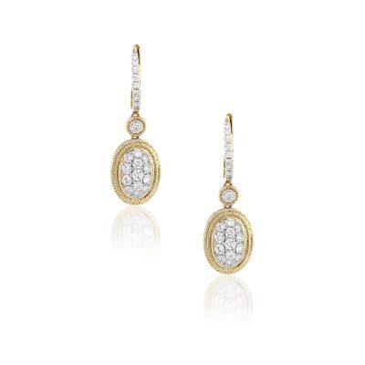 18k Yellow Gold 0.75ctw Round Diamond Dangle Cluster Earrings