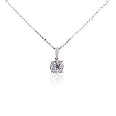 14k White Gold 0.40ctw Diamond Cluster Pendant Necklace