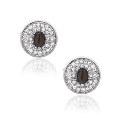 14k White Gold 1.30ct Round Diamond Hematite Gents Cufflinks