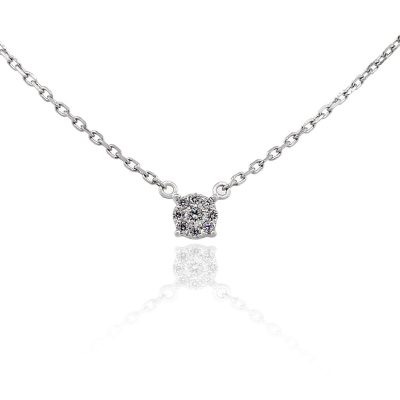 18k White Gold 0.13ctw Round Diamond Cluster Pendant On Chain Necklace