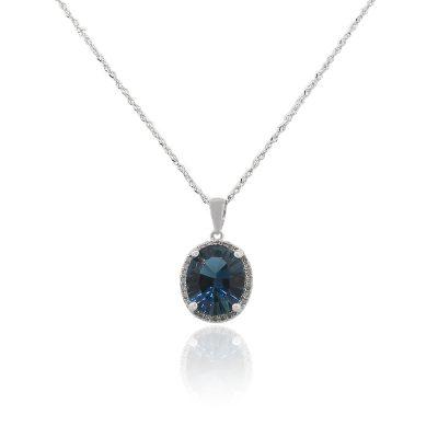 14k White Gold 0.12ctw Round Diamond Blue Topaz Pendant on Chain Necklace