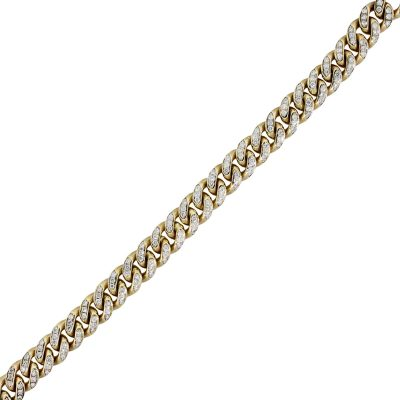 Yellow Gold 6ctw Diamond Pave Cuban Link Bracelet