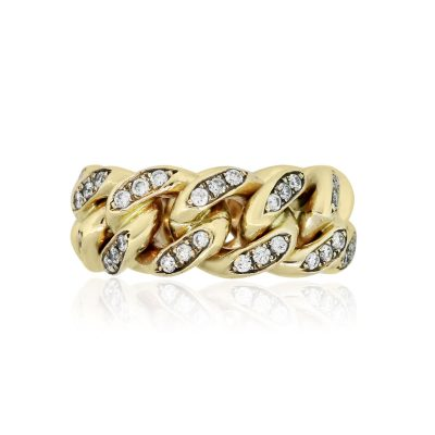 Yellow Gold 3ctw Diamond Pave Cuban Link Ring