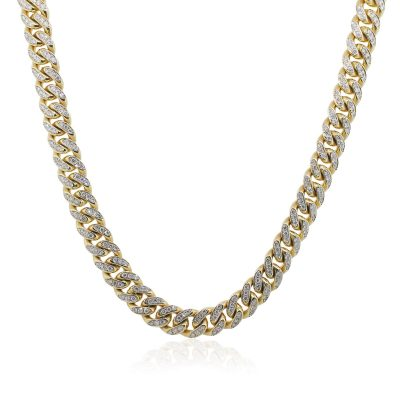 Yellow Gold 12ctw Diamond Pave Cuban Link Necklace