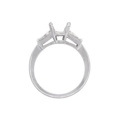 Platinum 0.20ctw Baguette Cut Diamond Three Stone Engagement Mounting