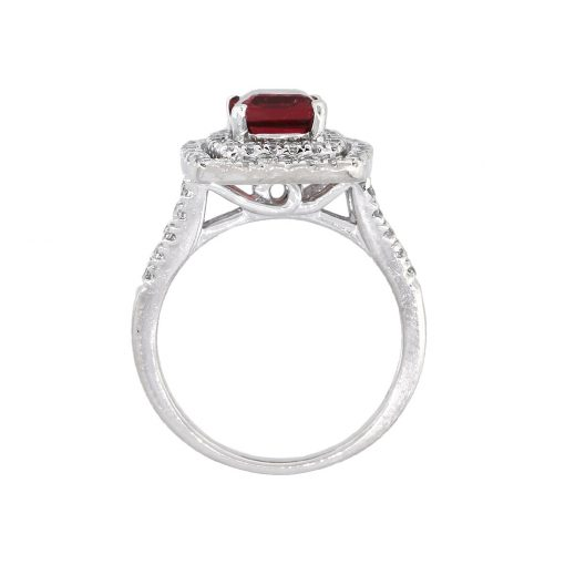 14k White Gold 1.52ct Round Diamond Halo Tourmaline Ring