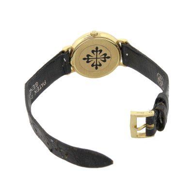 Patek Philippe 4819 Calatrava 18k Yellow Gold On Black Leather Watch