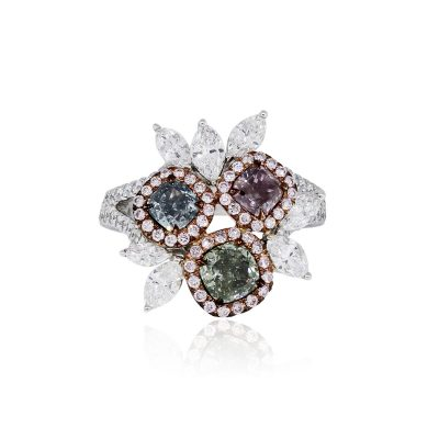 18k White and Rose Gold 3.20ctw Multi Fancy Color Diamond Cocktail Ring