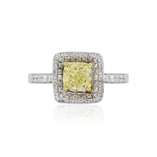 18k White Gold GIA Certified 1.01ct Fancy Yellow Diamond Halo Engagement Ring