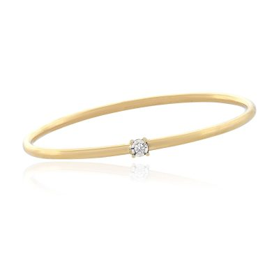 14k Yellow Gold 0.03ctw Round Diamond Illusion Bangle Bracelet