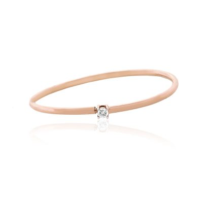 14k Rose Gold 0.03ctw Round Diamond Illusion Bangle Bracelet