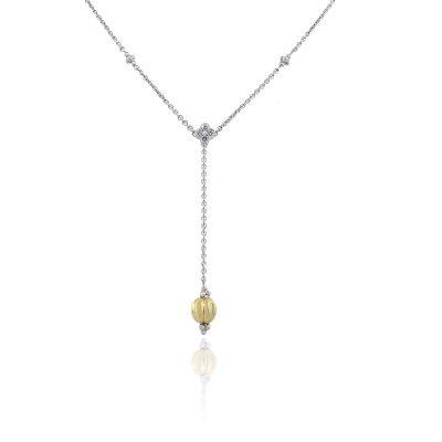 18k Two Tone 0.10ctw Round Diamond Drop Necklace