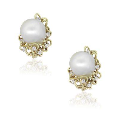 14k Yellow Gold 0.42ctw Round Diamond Baroque Pearl Earrings